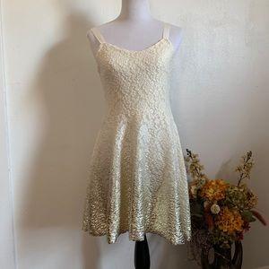 Free People beige/gold sleeveless mini dress M